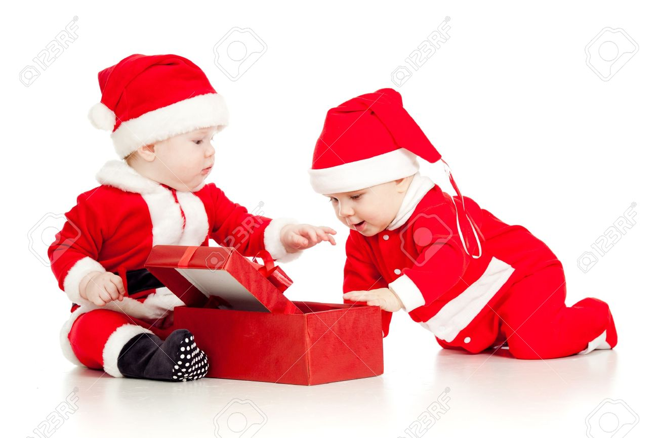 christmas funny small kids in santa claus clothes with gift box stock photo 14726713 - Santa Claus Children