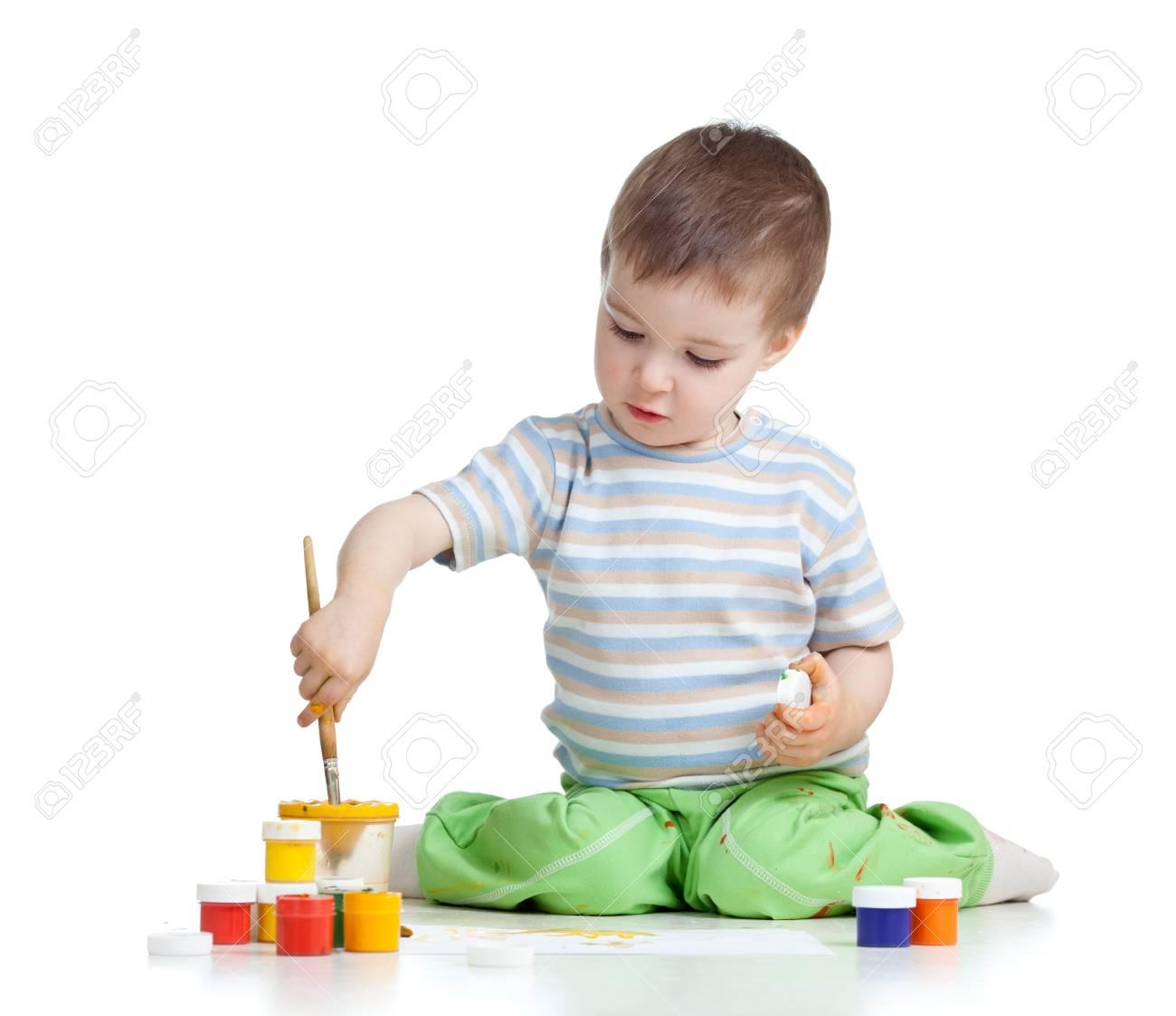 painting child boy over white background Stock Photo - 14824285