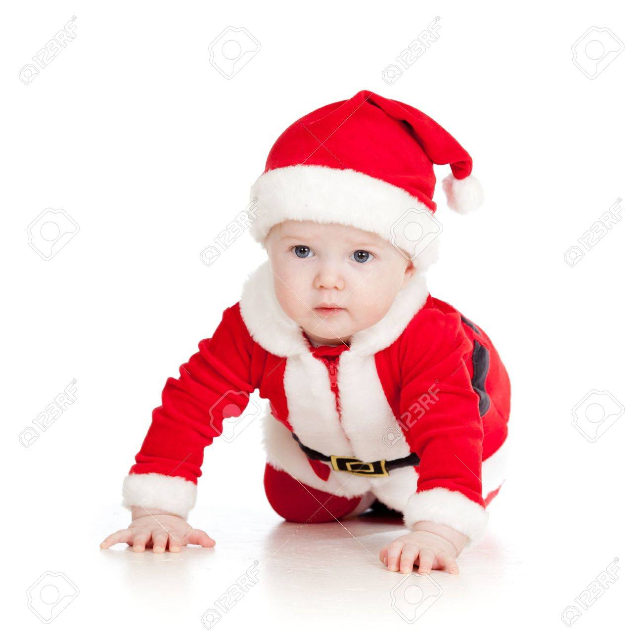 Baby Toddler Dressed As Santa Claus Over White