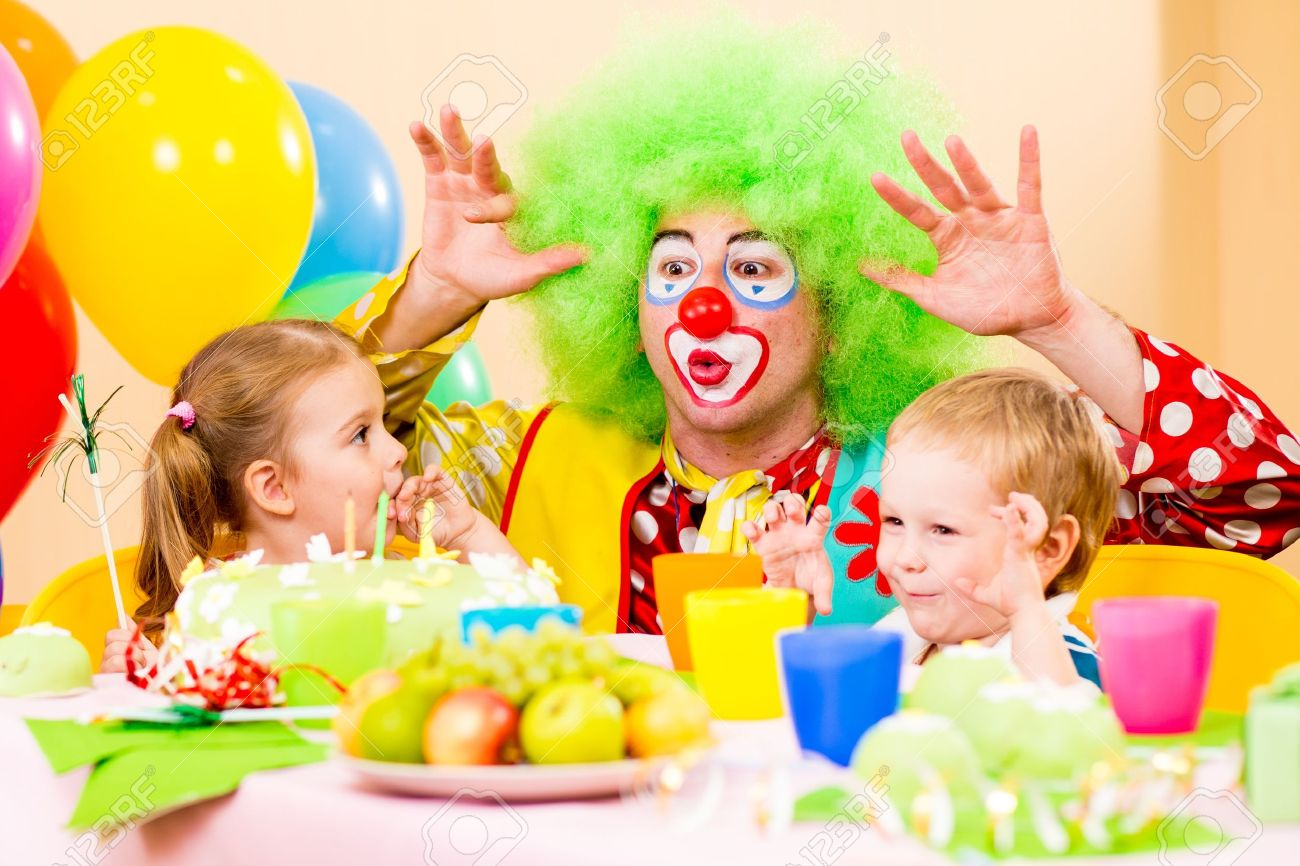happy kids with clown on birthday party Stock Photo - 15478145