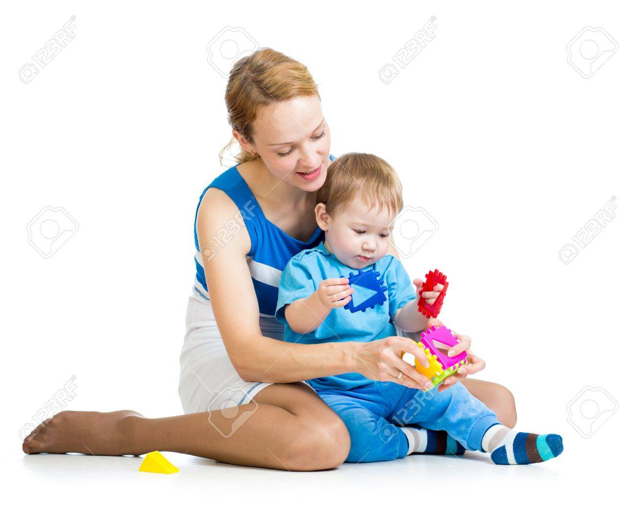 baby boy and mother playing together with puzzle toy Stock Photo - 15586206