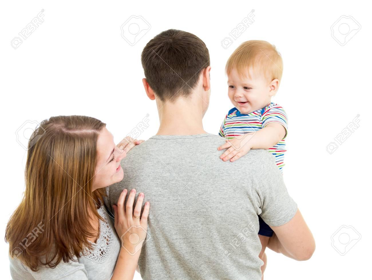 Happy family isolated on white background Stock Photo - 16521632