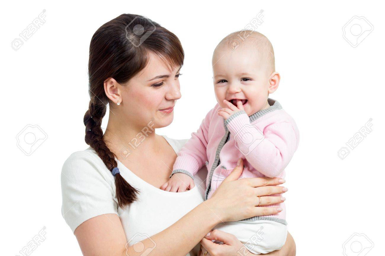 Happy mother looking at her baby girl isolated Stock Photo - 17455490