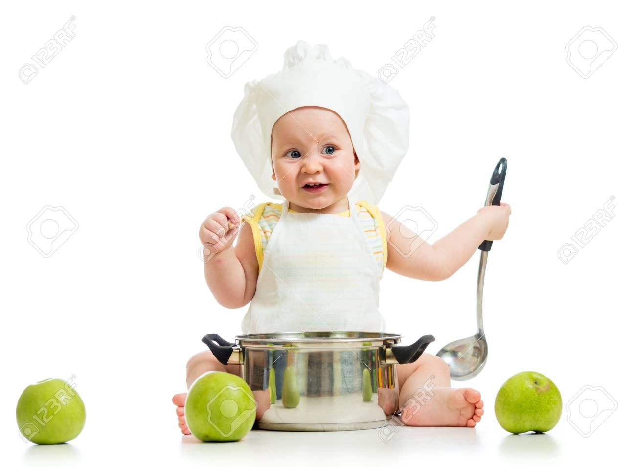 funny adorable baby with green apples isolated on white background Stock Photo - 17499571