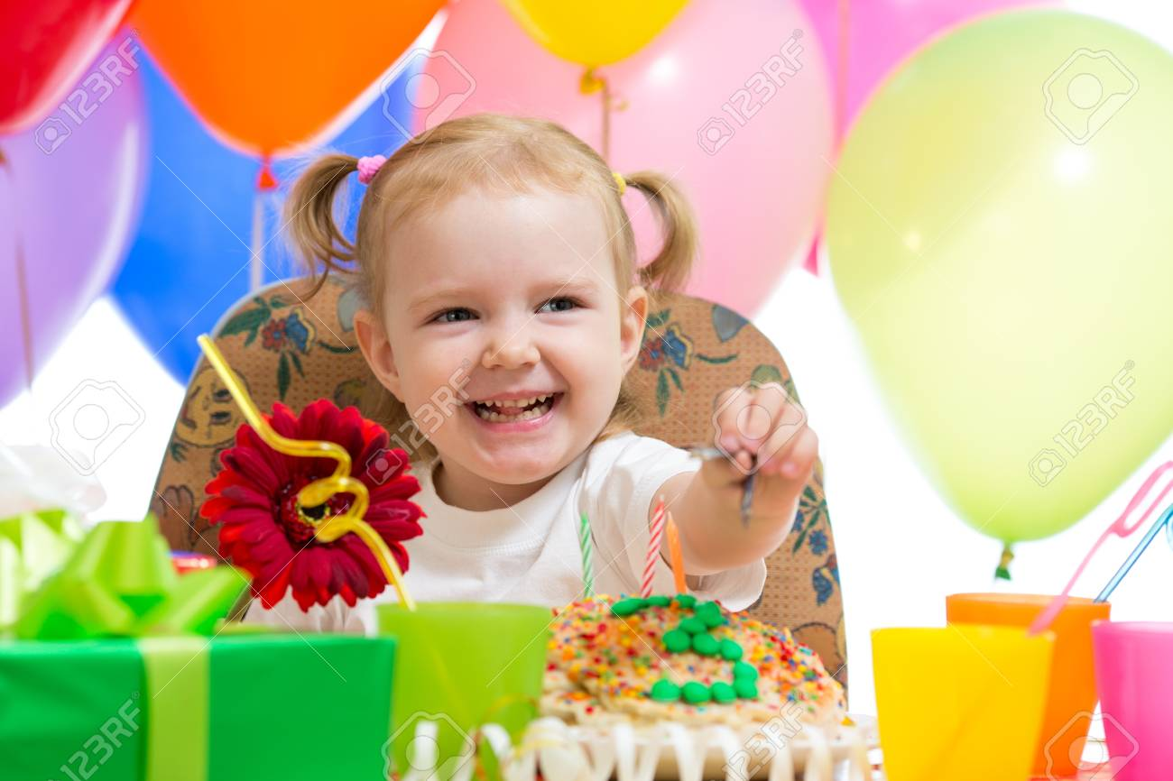Happy Child Girl On Birthday Party Stock Photo Picture And Royalty