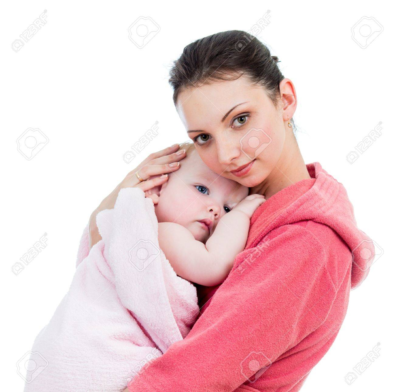 mother with baby after bathing Stock Photo - 17641805