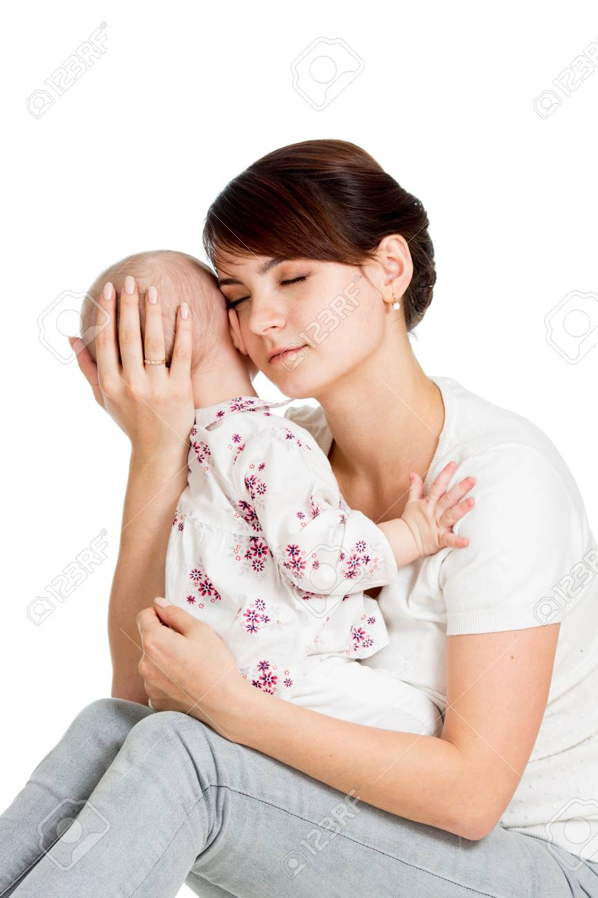 Mother trying to comfort her crying baby isolated Stock Photo - 19050903