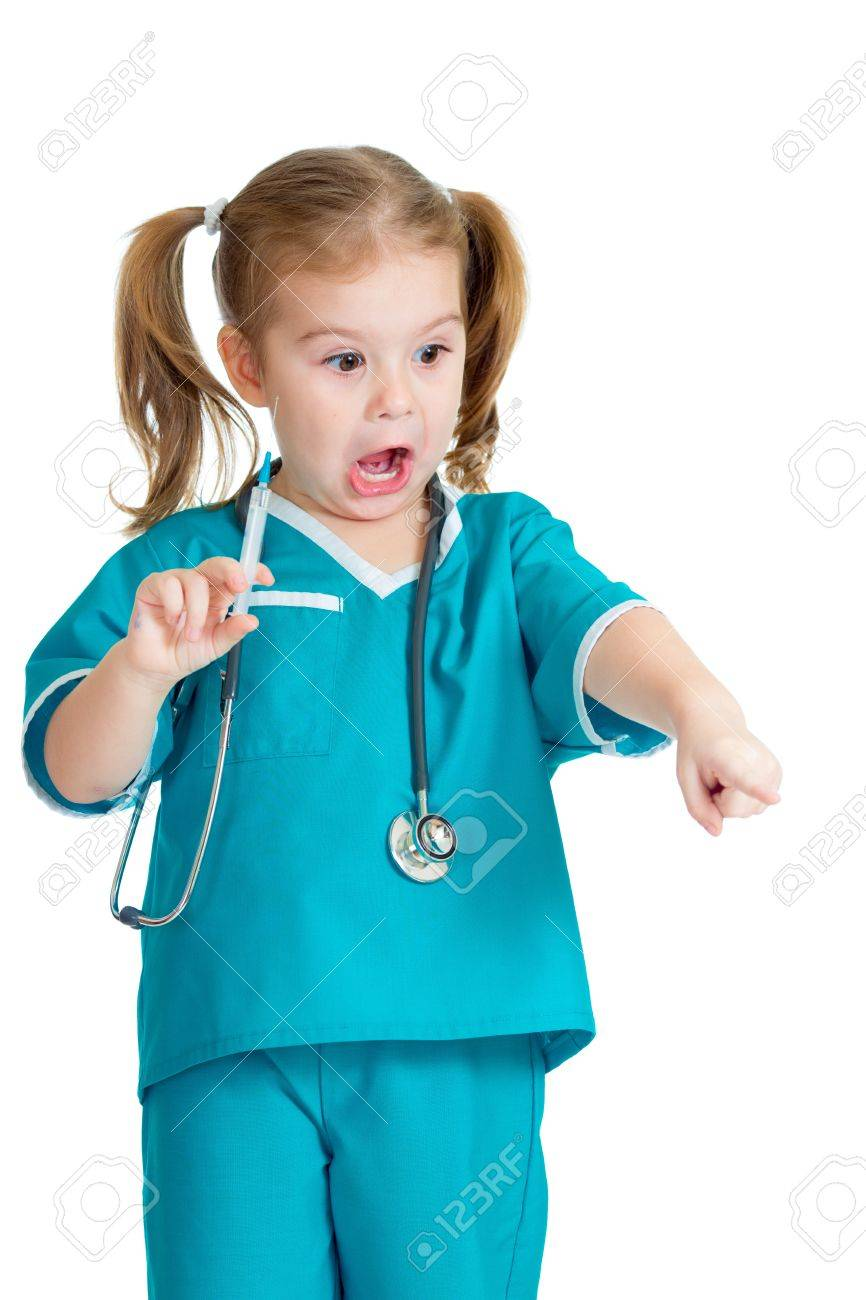 doctor kid Stock Photo - kid girl playing doctor with syringe isolated on white
