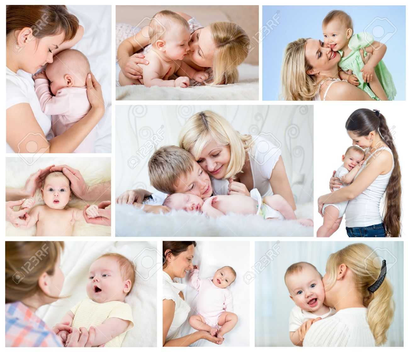 collage mother day concept loving moms with babies stock photo 20145015