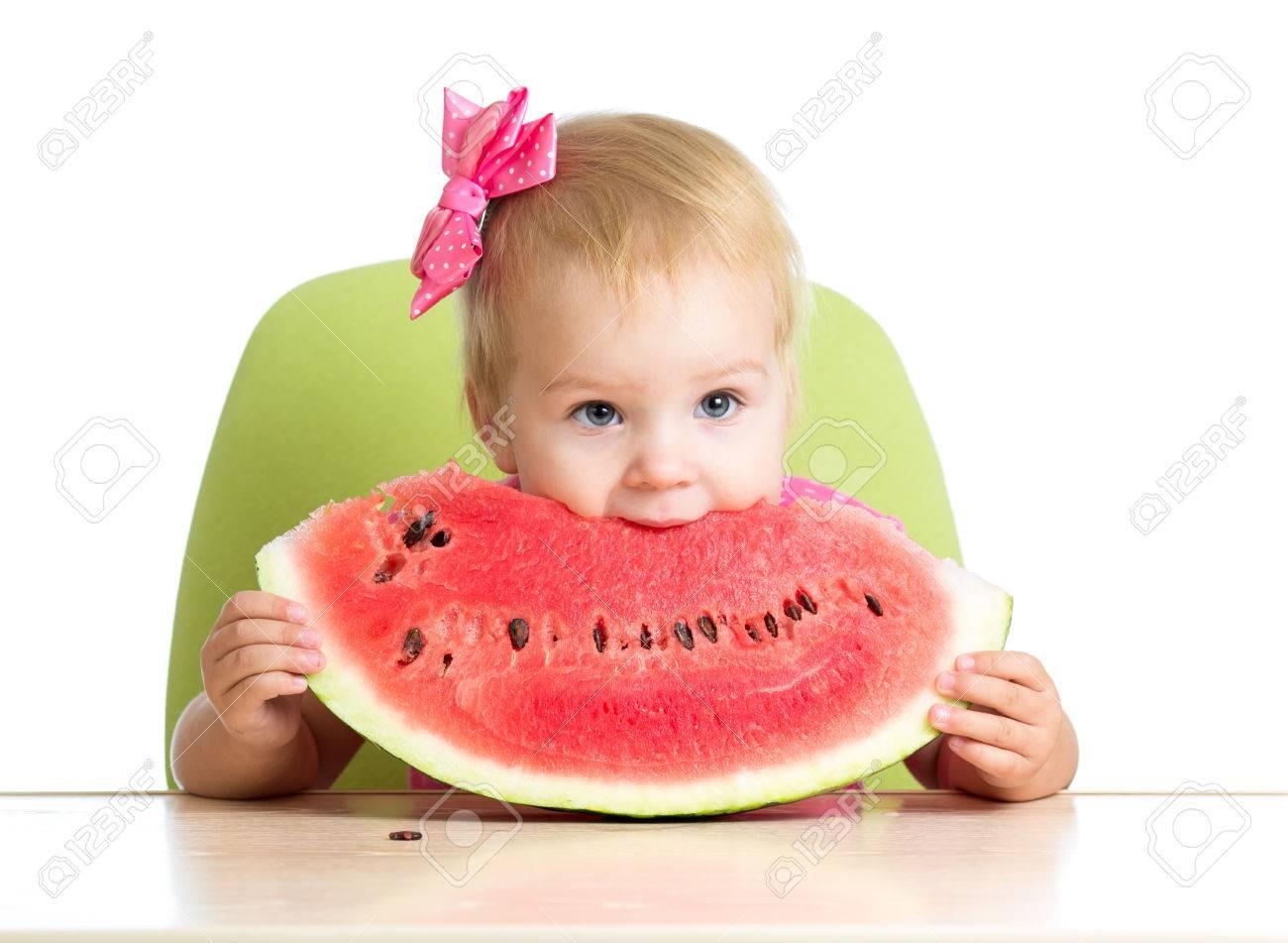 child girl eating watermelon Stock Photo - 22283639