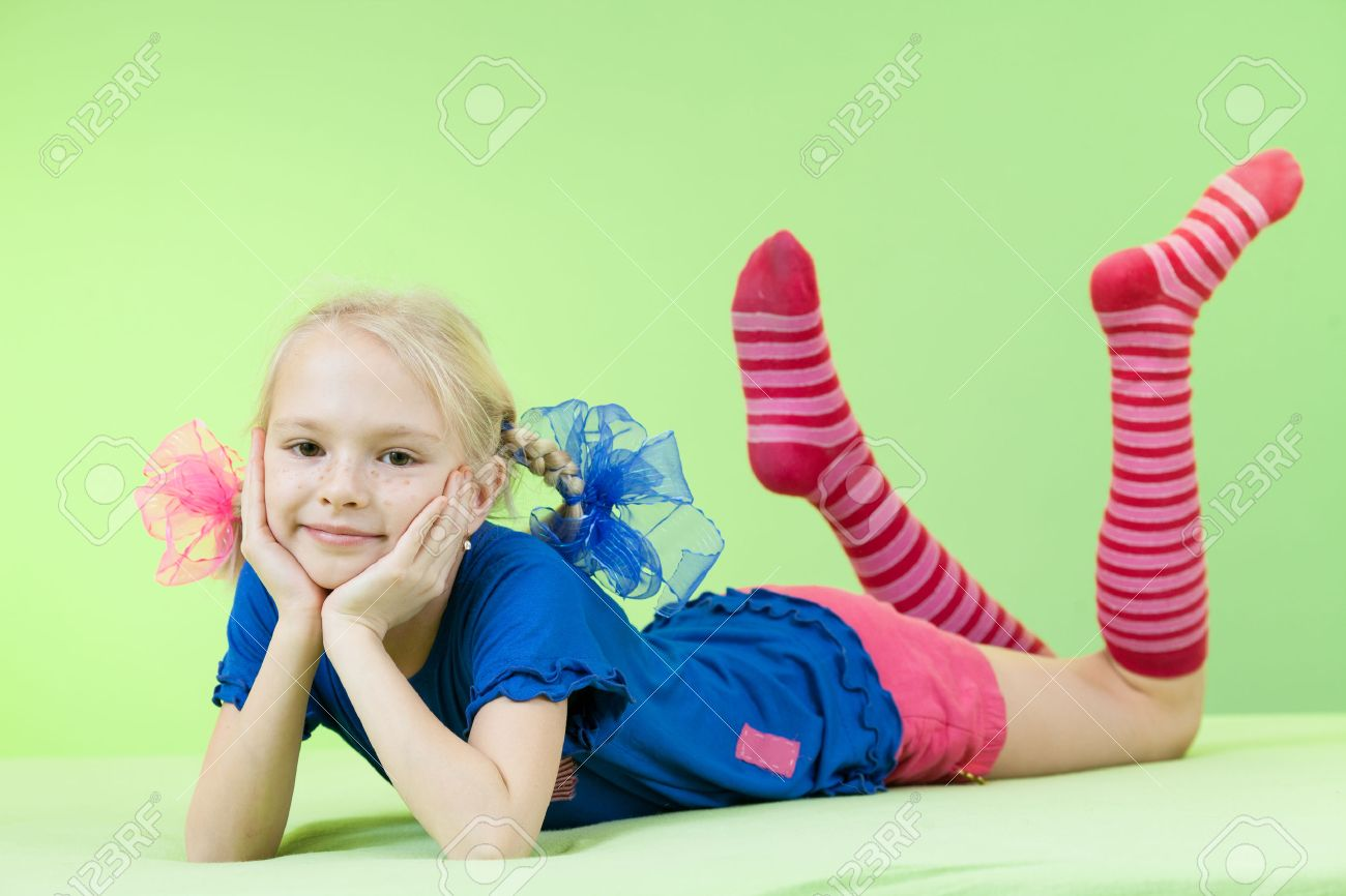 Pretty Girl In Bright Clothing Or Fancy Dress Stock Photo 22283651