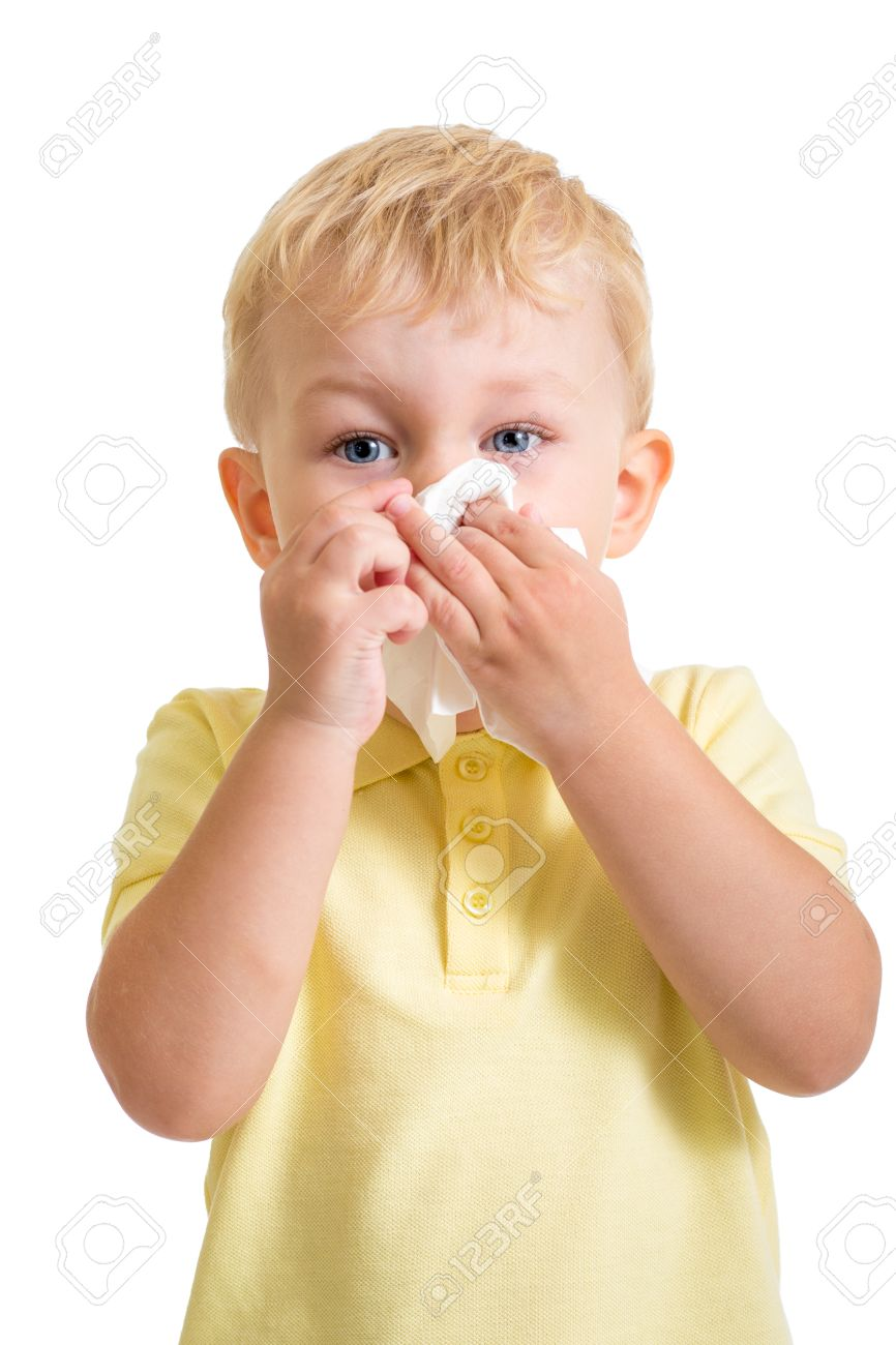 Kid Cleaning Nose With Tissue Isolated On White Stock Photo ...