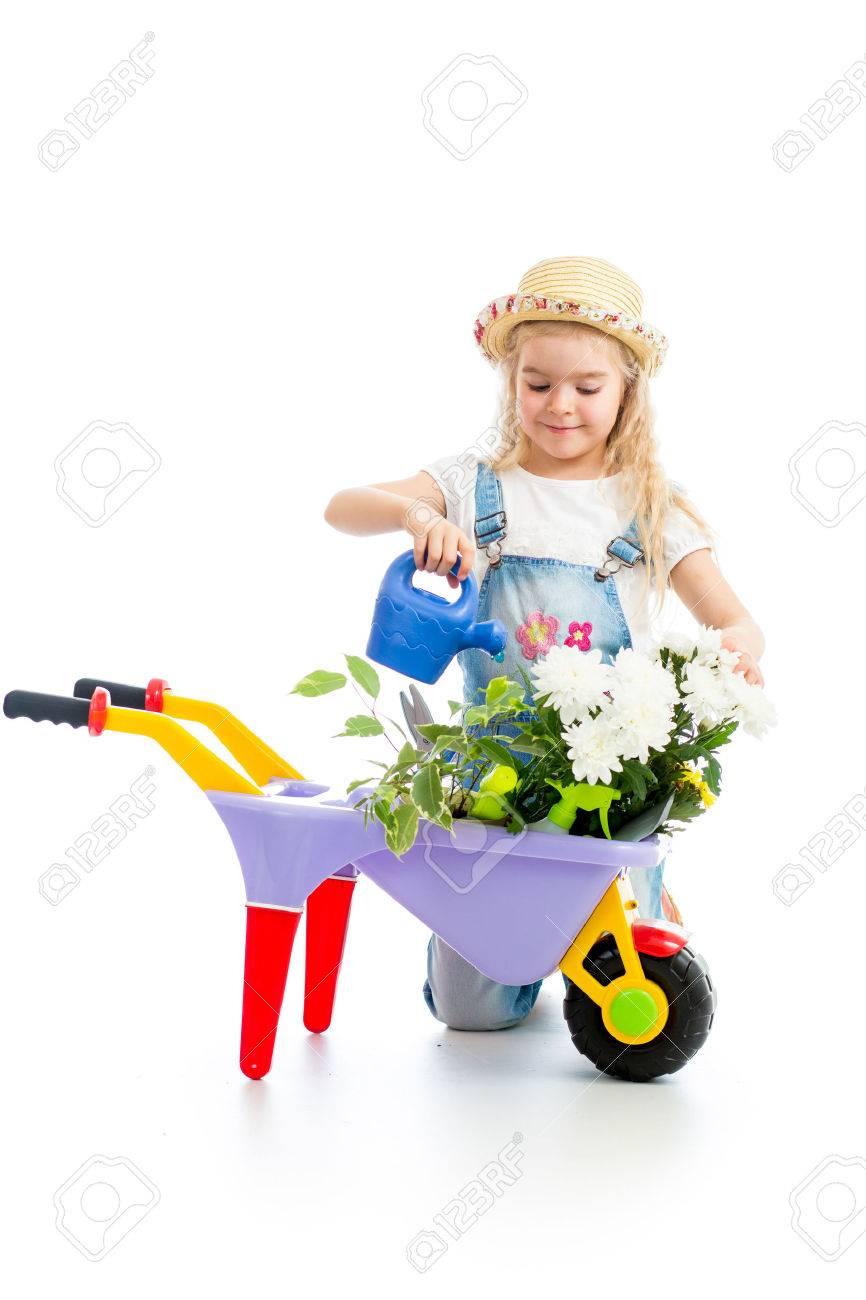 gardener kid watering tree stock photo 22937048