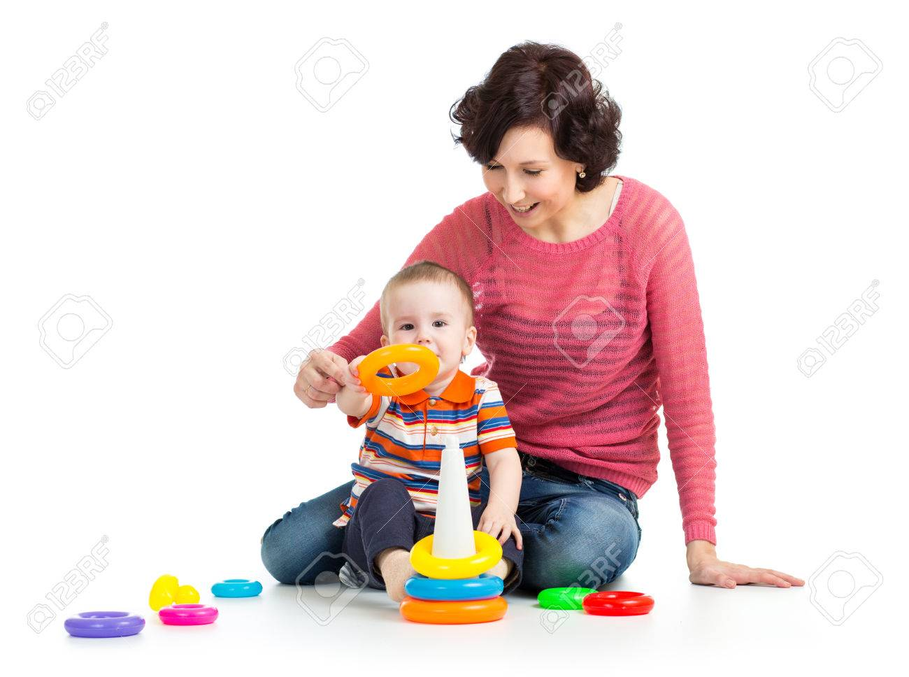 kid boy and mother play together Stock Photo - 23176218