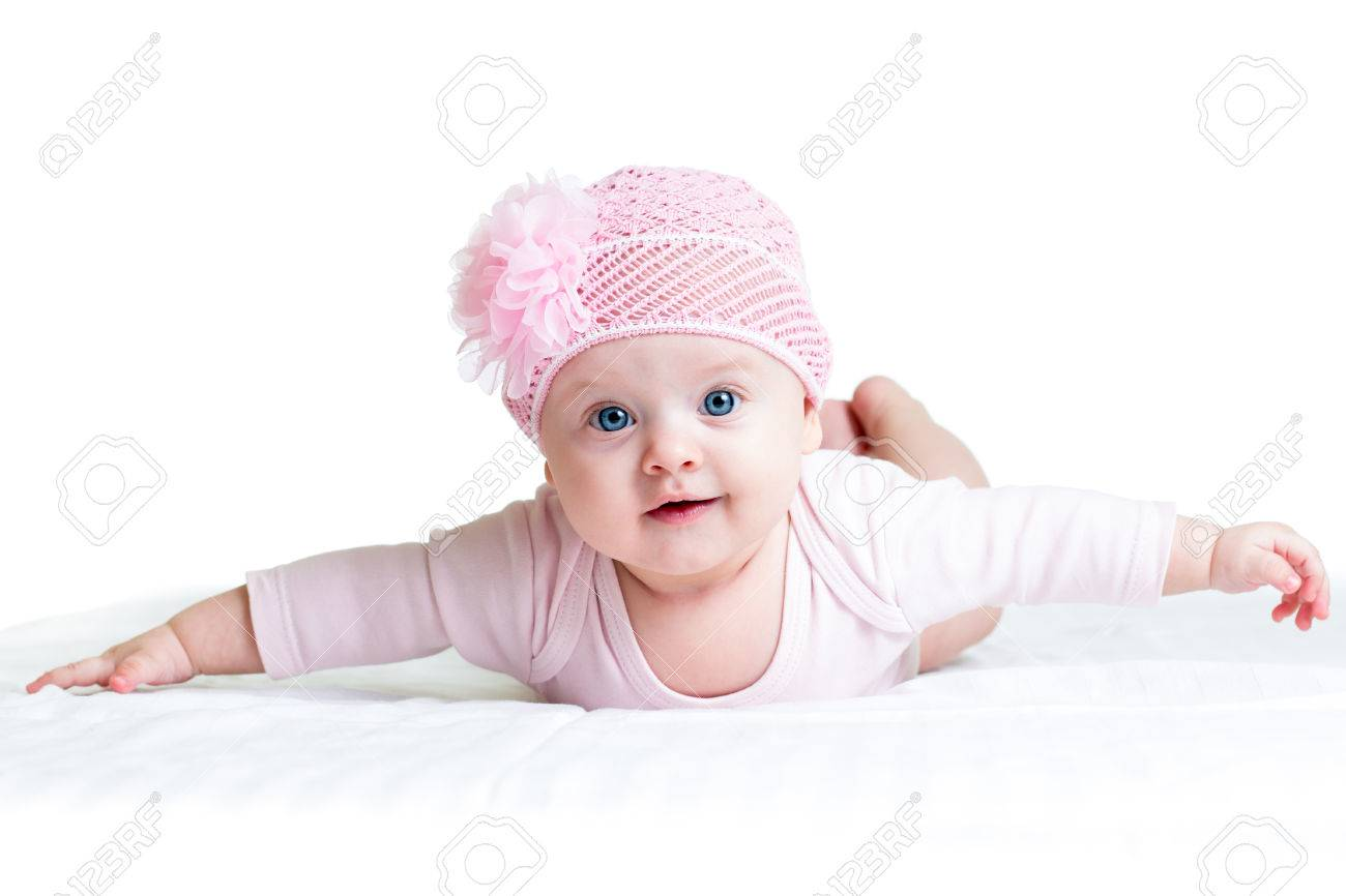 cute baby girl weared in pink cap stock photo, picture and royalty