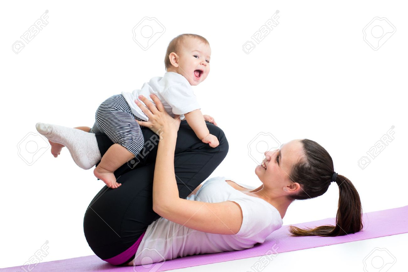 mom with child do gymnastic and fitness exercises Stock Photo - 26269954