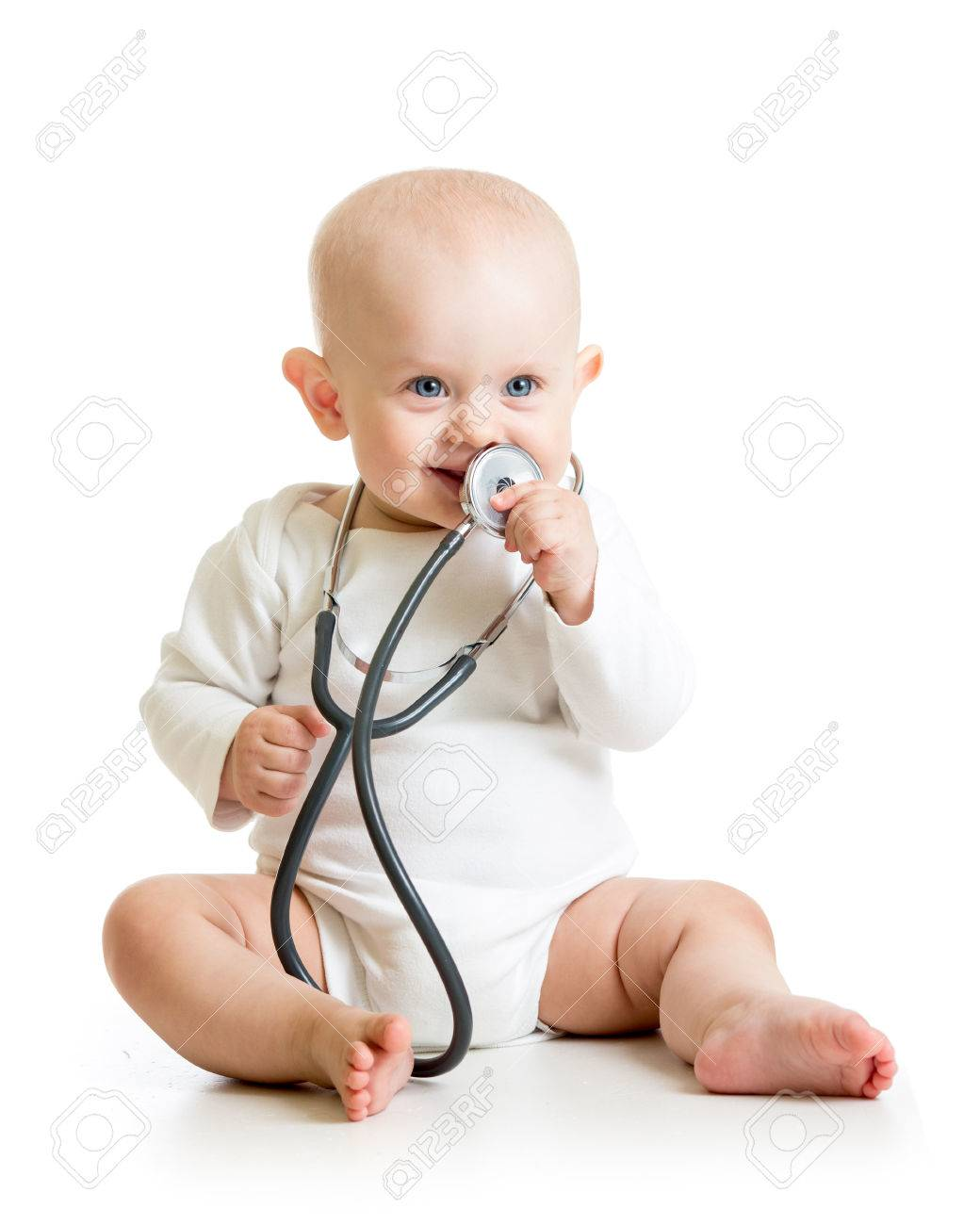 cute baby boy with stethoscope in hands stock photo, picture and