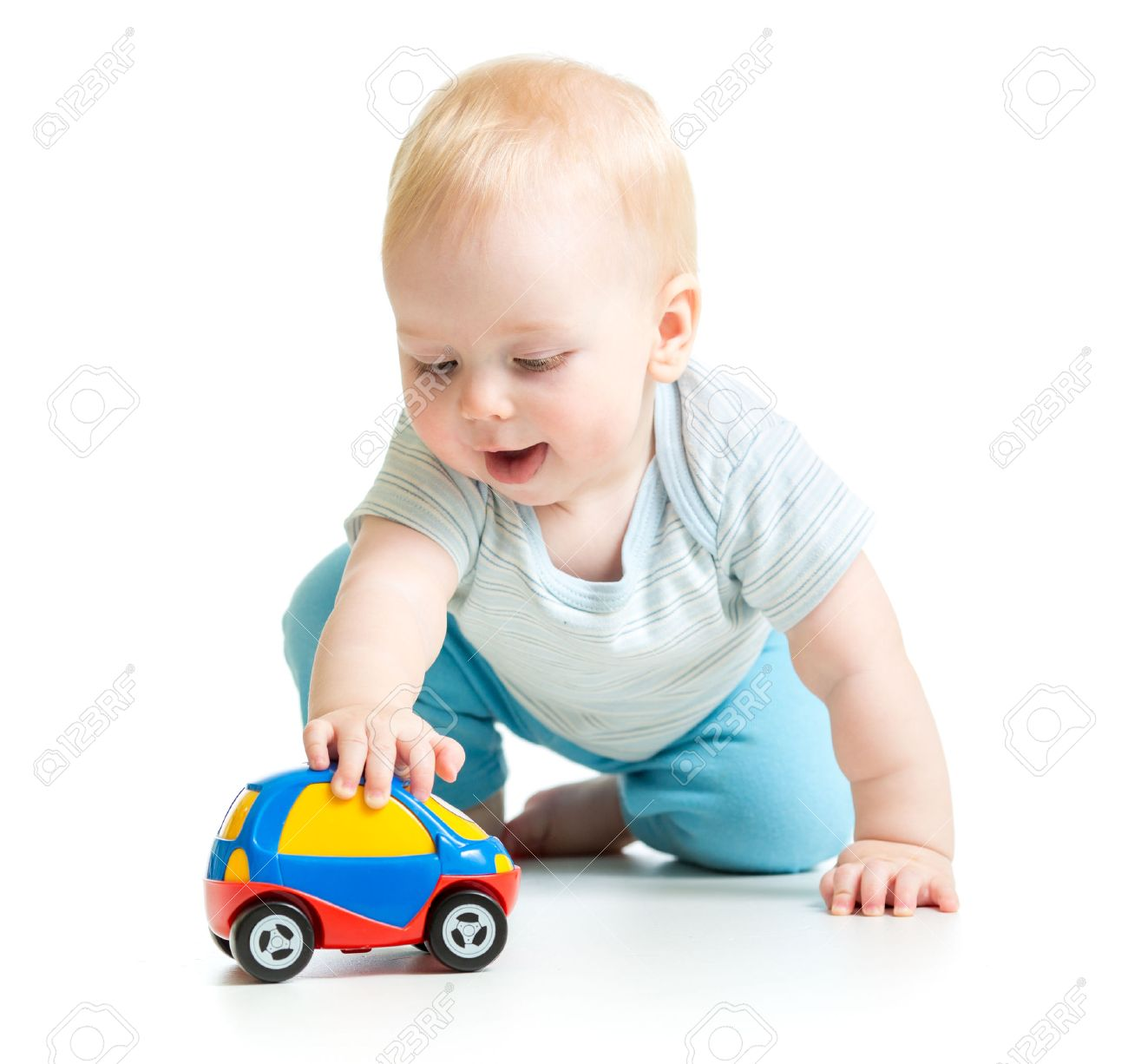 Baby Boy Toddler Playing With Toy Car Isolated Stock Photo Picture