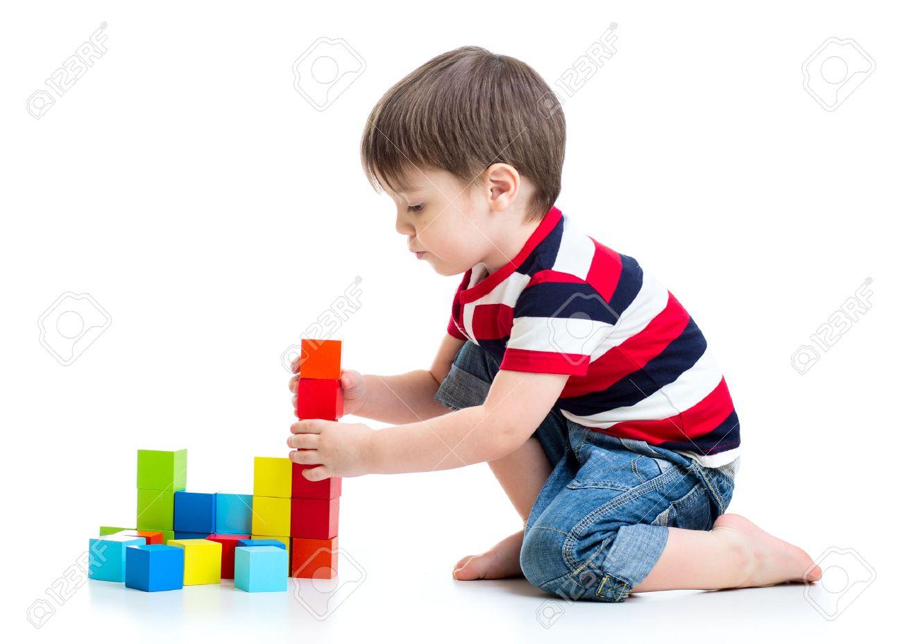 Delightful Kid Child Boy Playing On Floor Isolated Stock Photo   38772549