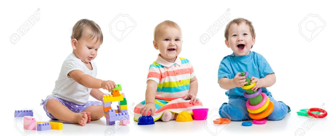 nursery babies play with educational toys - 124452792