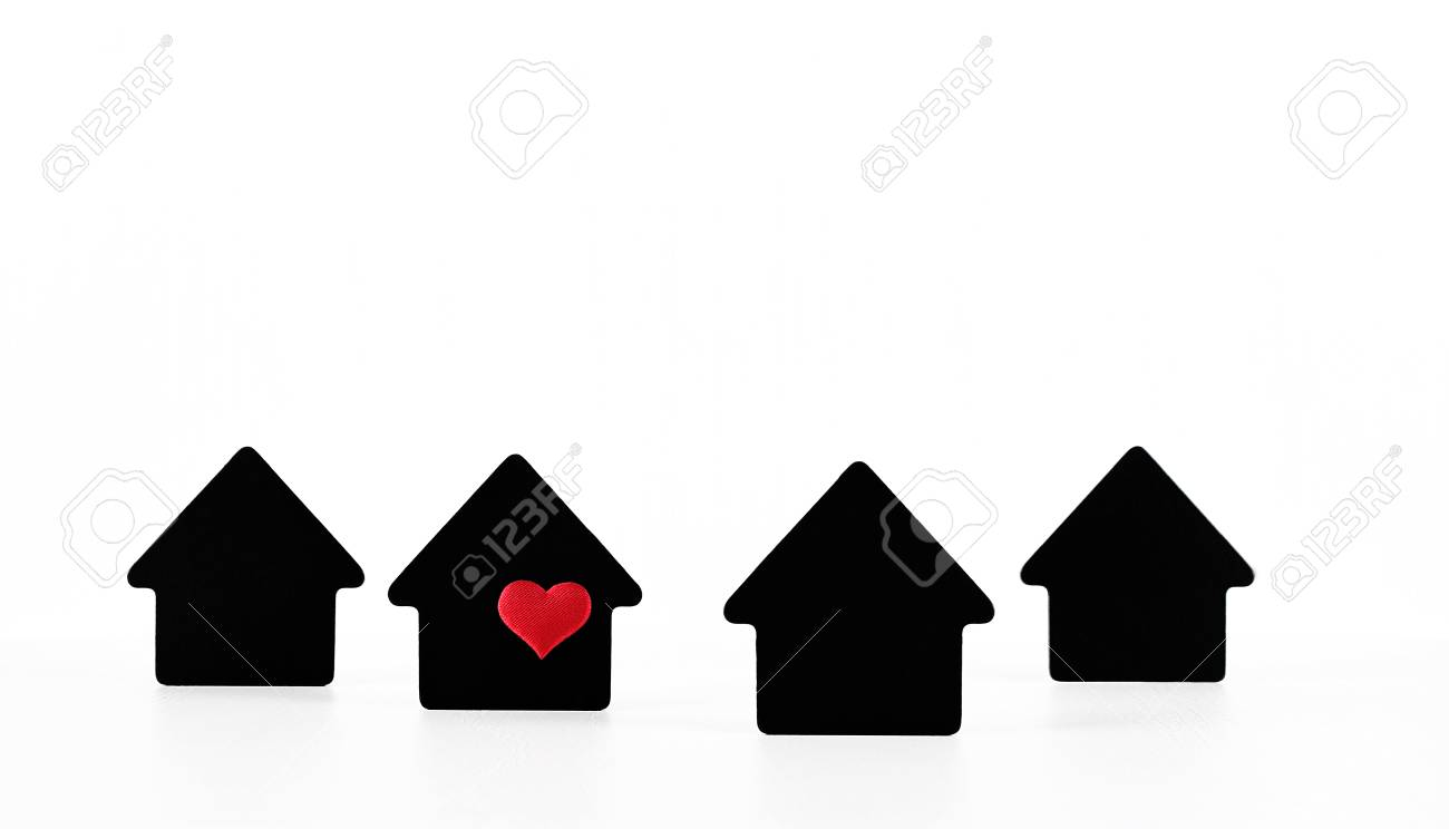 Black house symbols on white background with red heart - 82437352