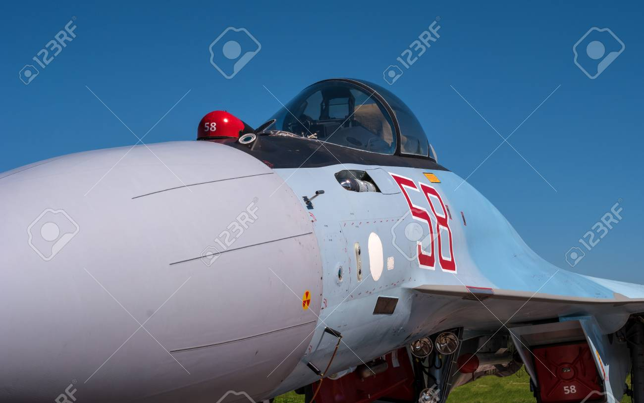 The cabin of a jet fighter pilot of Sukhoi SU35 - under the NATO