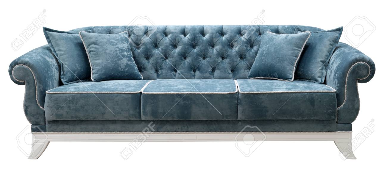 Classic sofa isolated on white background. The back of the sofa..