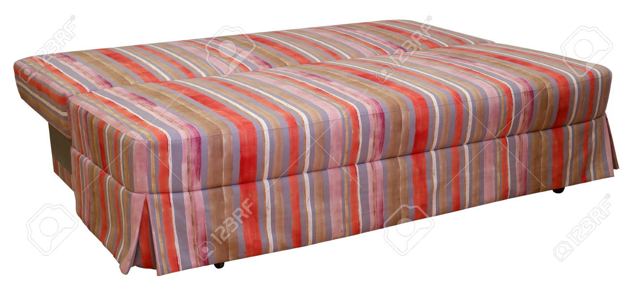 Colorful striped sofa on a white background. Stripes of cloth..