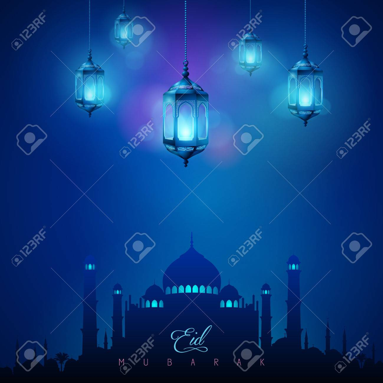 Arabic Lamp And Mosque Islamic Celebration Greeting Background