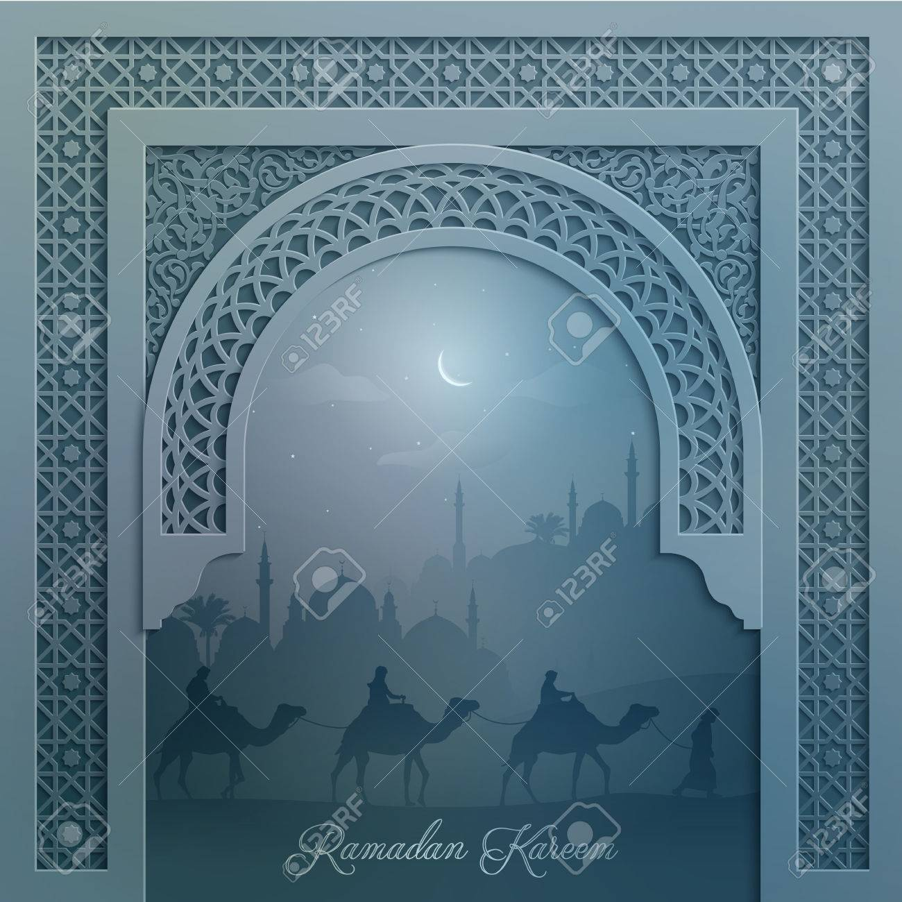 Mosque Silhouette And Arabian Camel Travel With Arabic Pattern