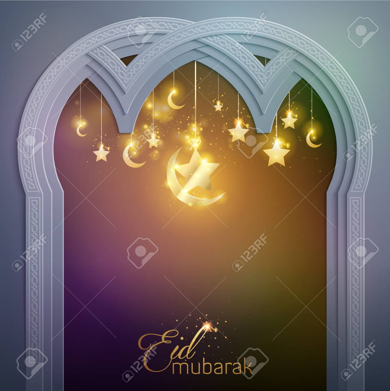 Islamic Design Greeting Card Template Eid Mubarak Royalty Free