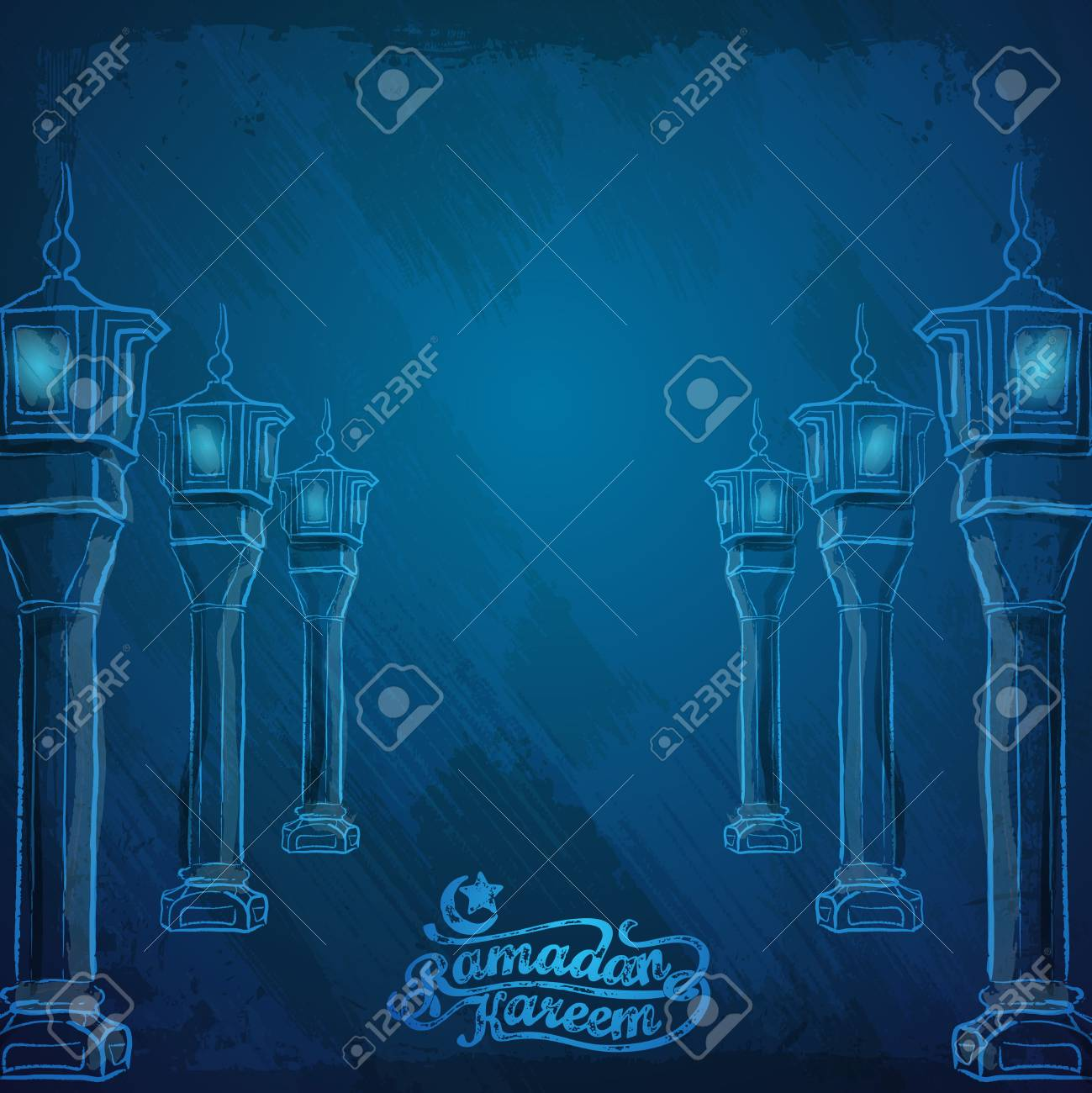 Vector Watercolor Arabic Lamp Ramadan Kareem Greeting Background