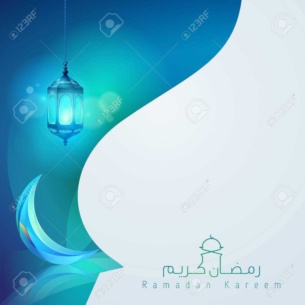 Ramadan Kareem Greeting Card Template Design Royalty Free Cliparts