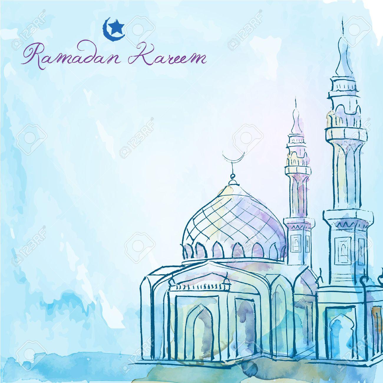 Mosque background for ramadan kareem stock photography image - Ramadan Kareem Greeting Background Mosque Watercolor Sketch Stock Vector 57004379