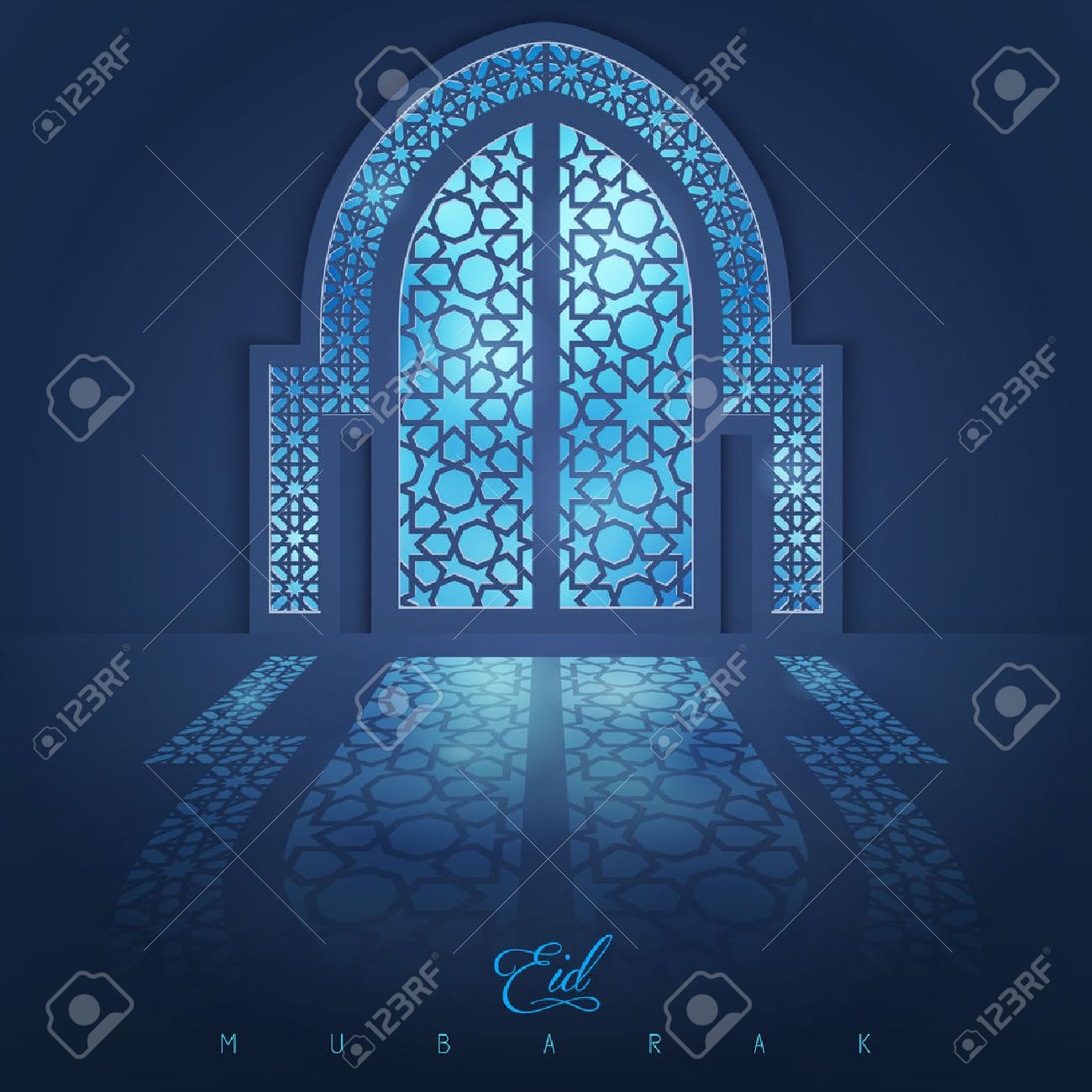 Attirant Mosque Door With Arabic Pattern For Eid Muabrak Greeting Background Stock  Vector   57005511