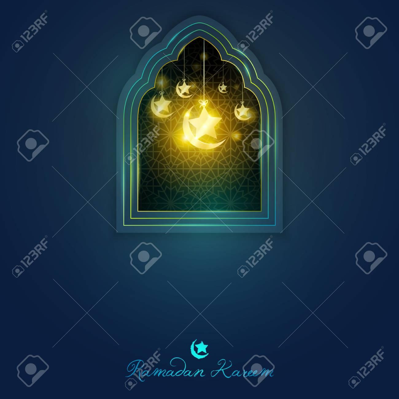 Plantilla De Tarjeta De Felicitación De Ramadan Kareem Ventana De ...
