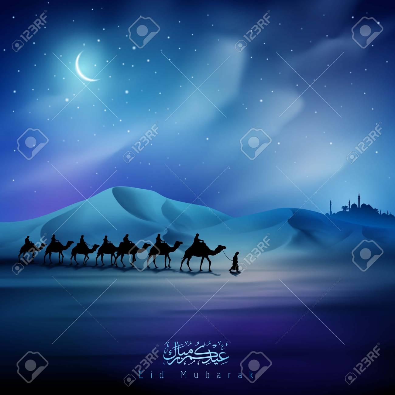 Eid mubarak greeting card template night illustration arabian eid mubarak greeting card template night illustration arabian and camel on desert islamic background stock vector m4hsunfo
