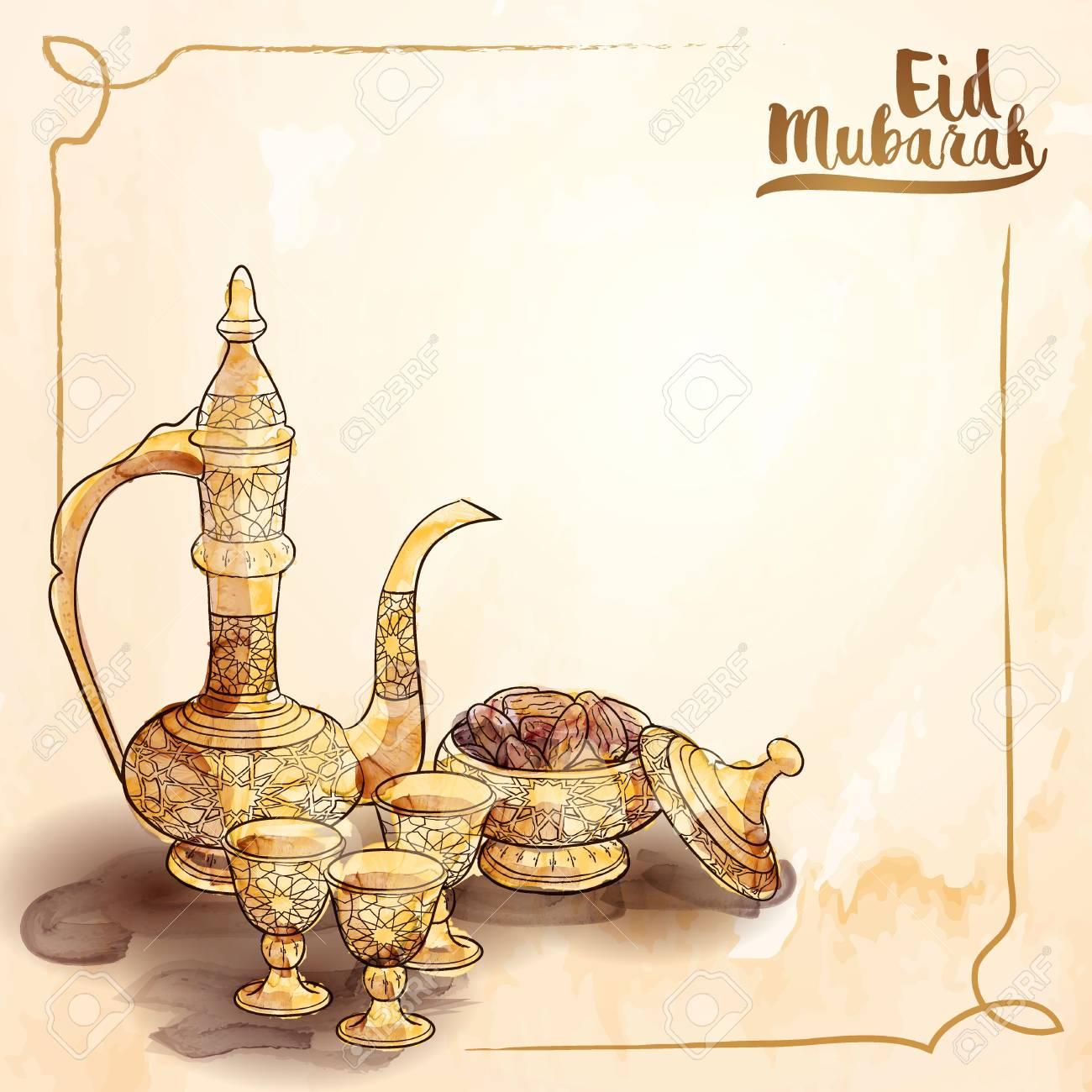 Eid mubarak islamic greeting background with arabic traditional eid mubarak islamic greeting background with arabic traditional teapot and date fruit vector illustration stock vector m4hsunfo