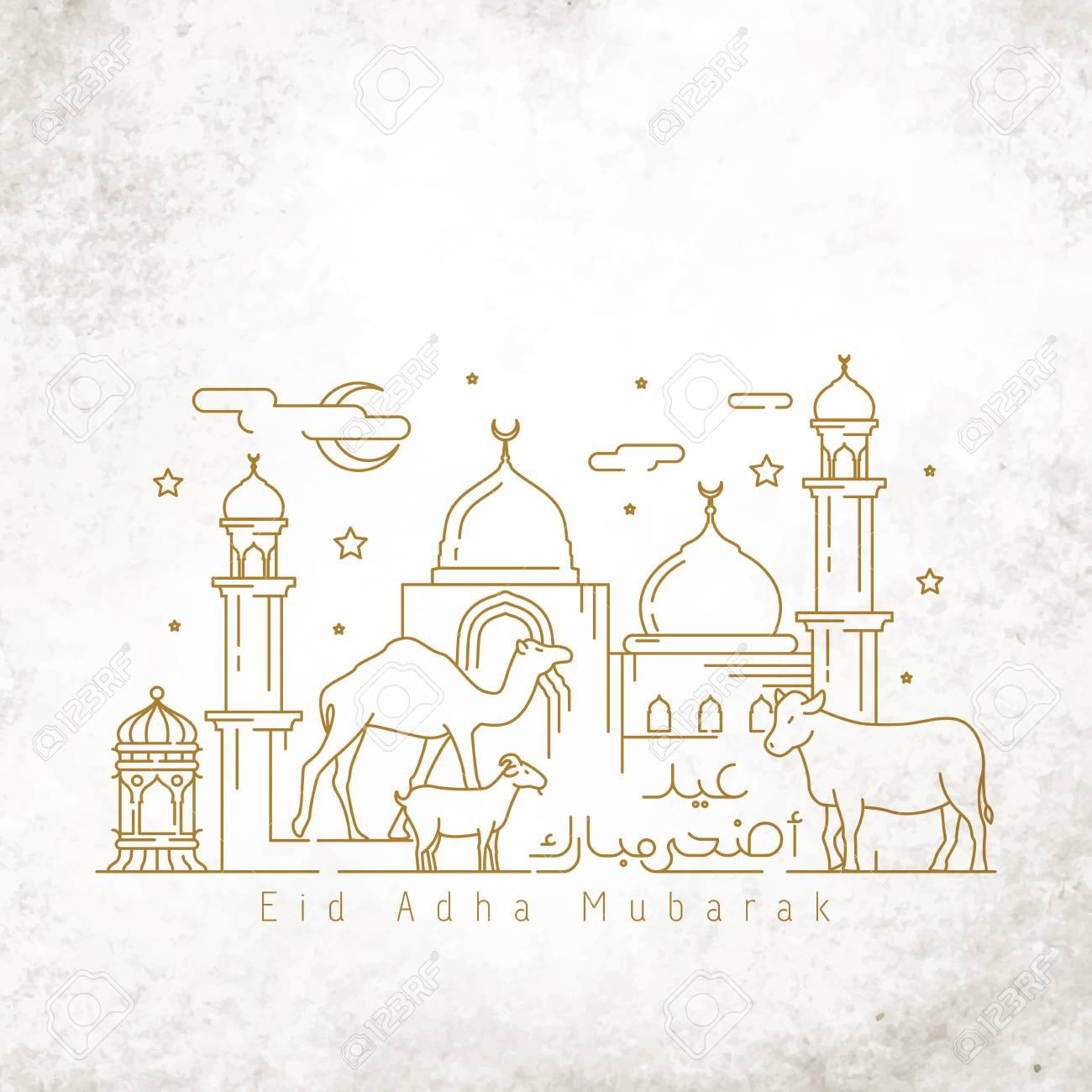 Islamic greeting Happy Eid adha mubarak greeting card template monoline illustration arabic landscape - 101048681