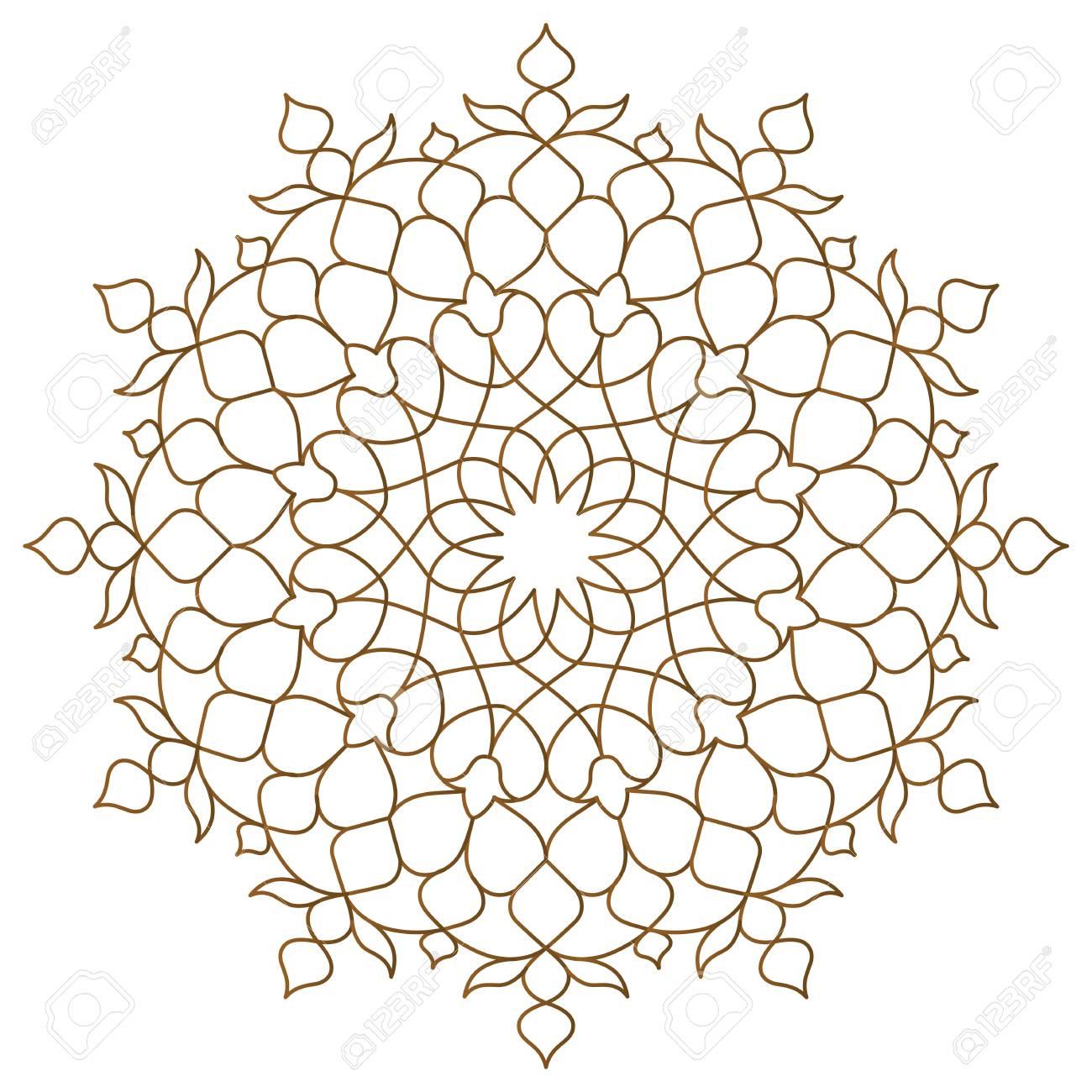 Arabic circle pattern monoline ornament - 101184673