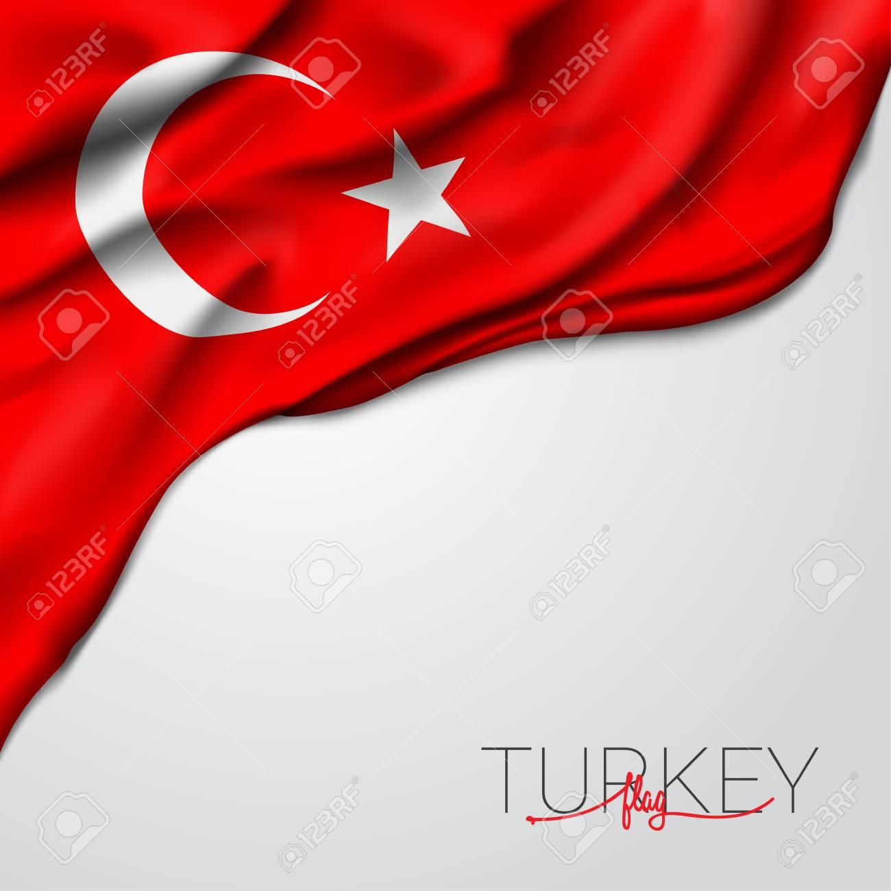 Turkey waving flag vector illustration - 120643782