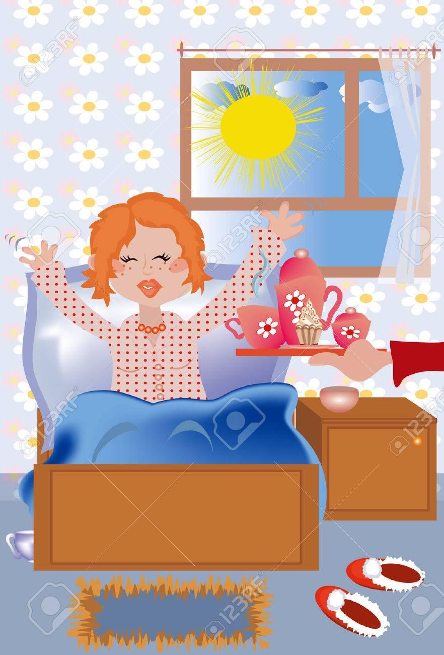 Fruhstuck Am Bett To The Redhead Girl Lizenzfrei Nutzbare