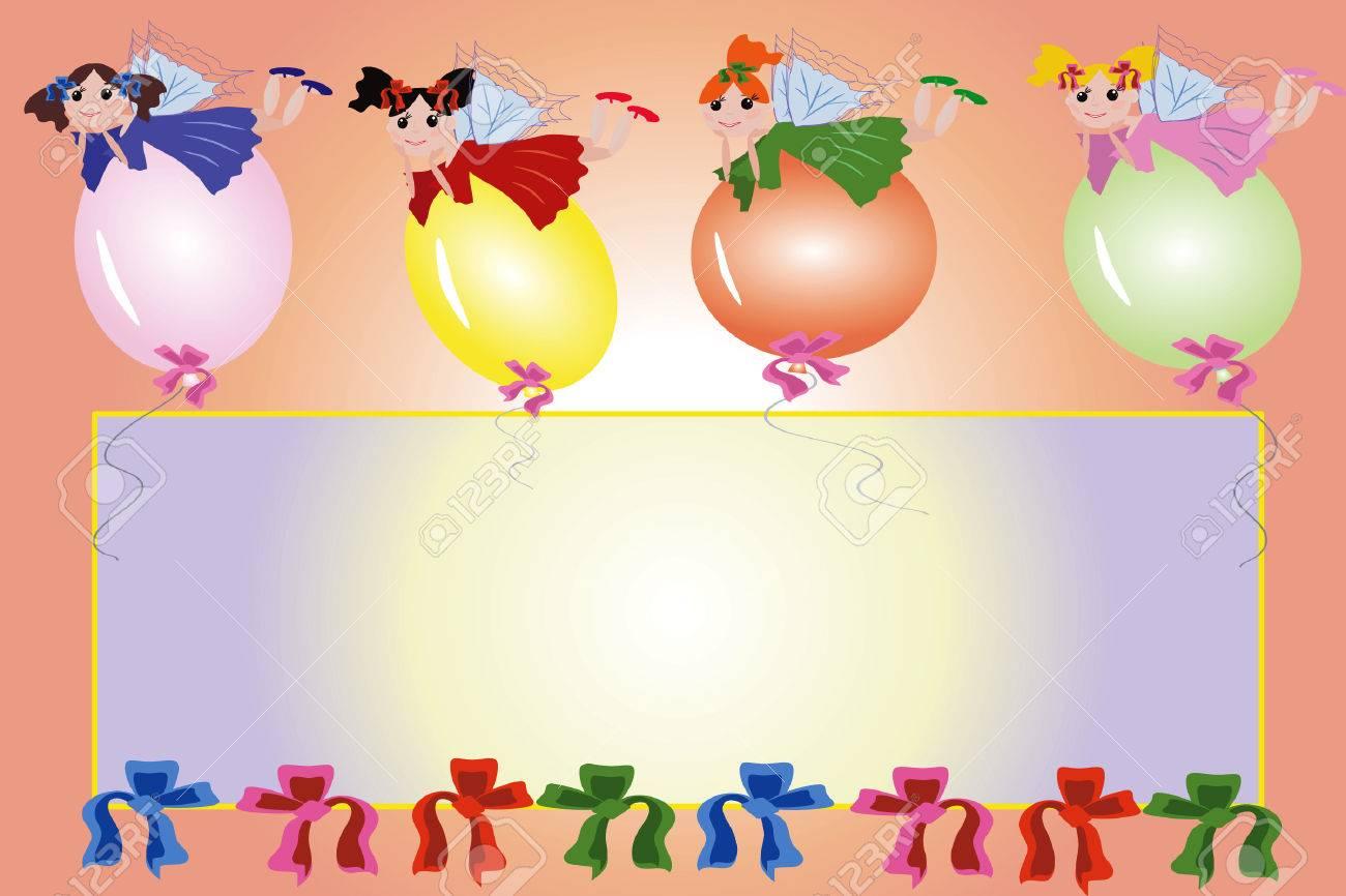 Birthday frame:fairies flying on a balloons Stock Vector - 8075110