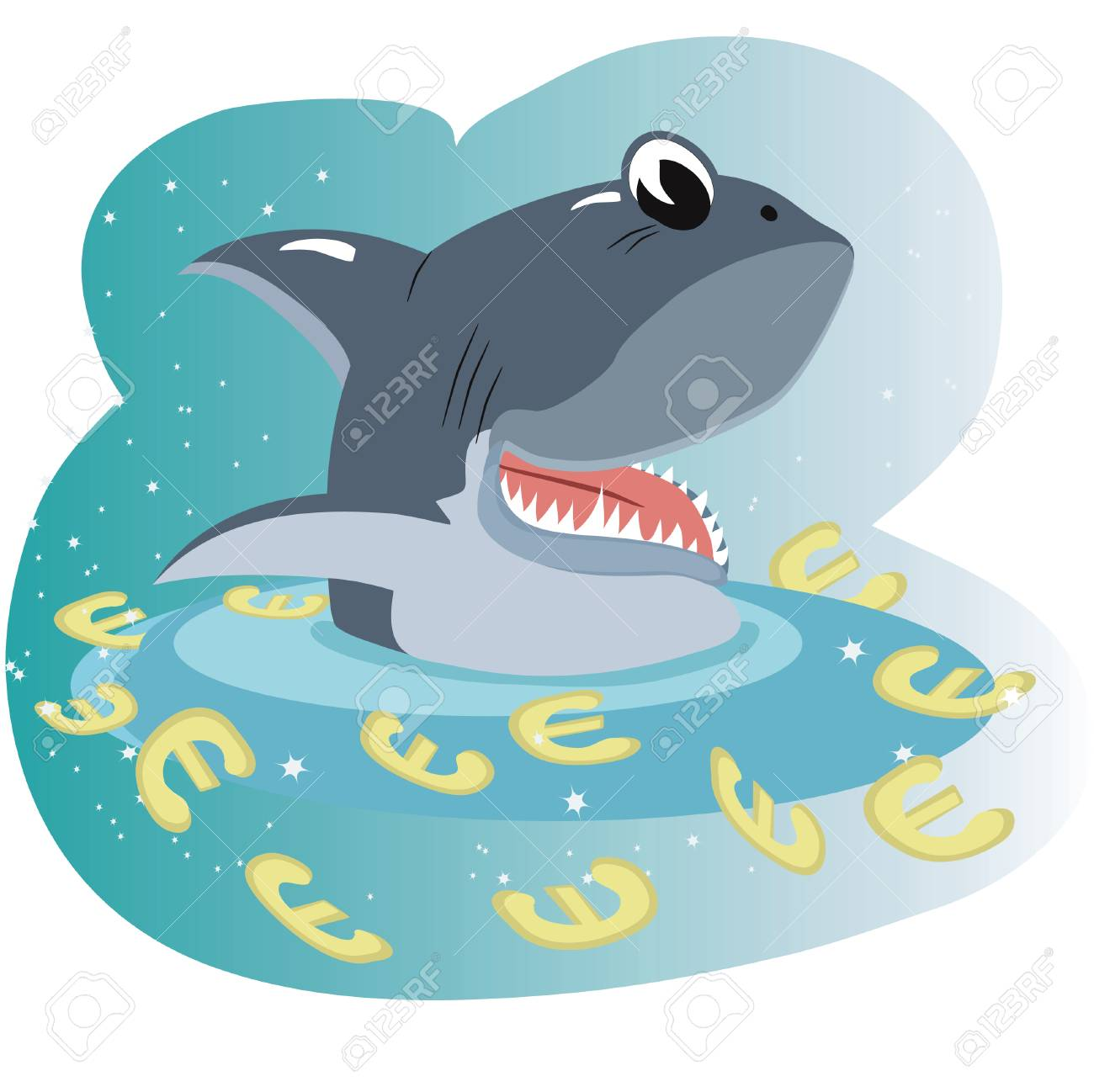 Shark in the sea of a euro Stock Vector - 8075125