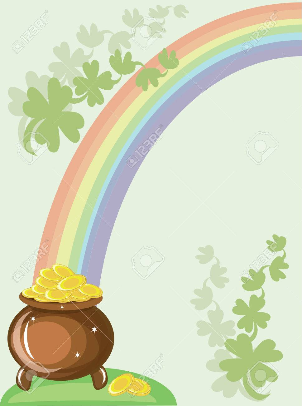 St patricks day, gold pot and rainbow Stock Vector - 8958904
