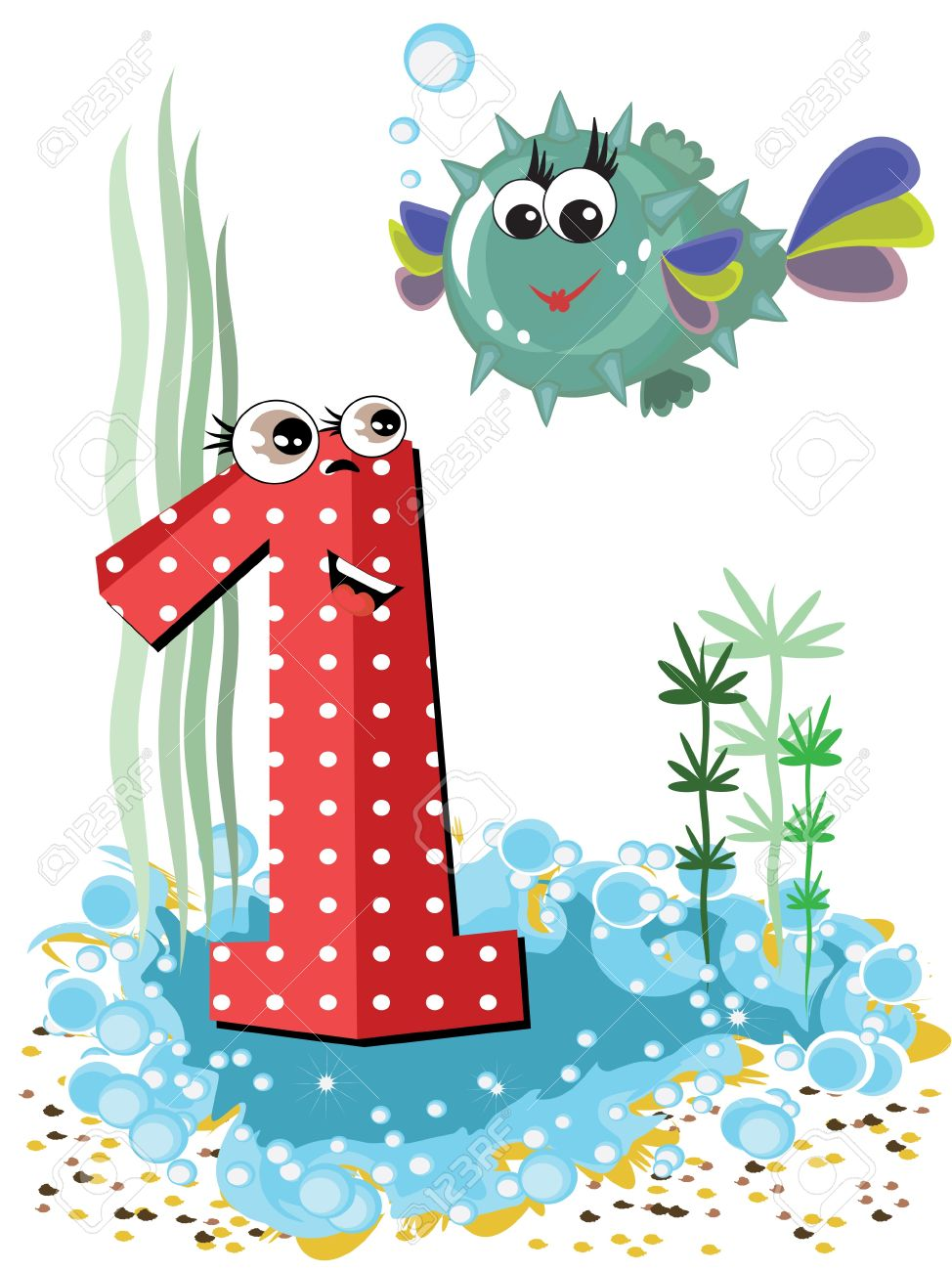 Sea animals and numbers series Stock Photo - 9953012