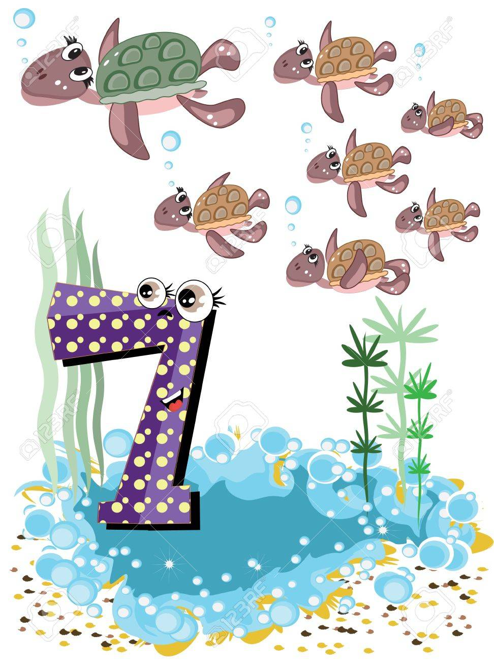 sea animals and numbers series for kids 7 turtles royalty free