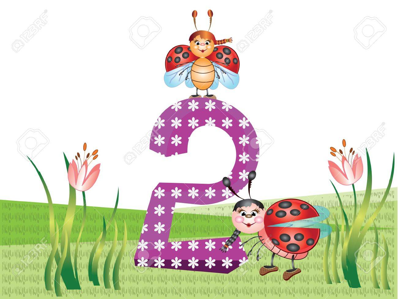 Numbers and insects series for kids,,2 Stock Vector - 9944160