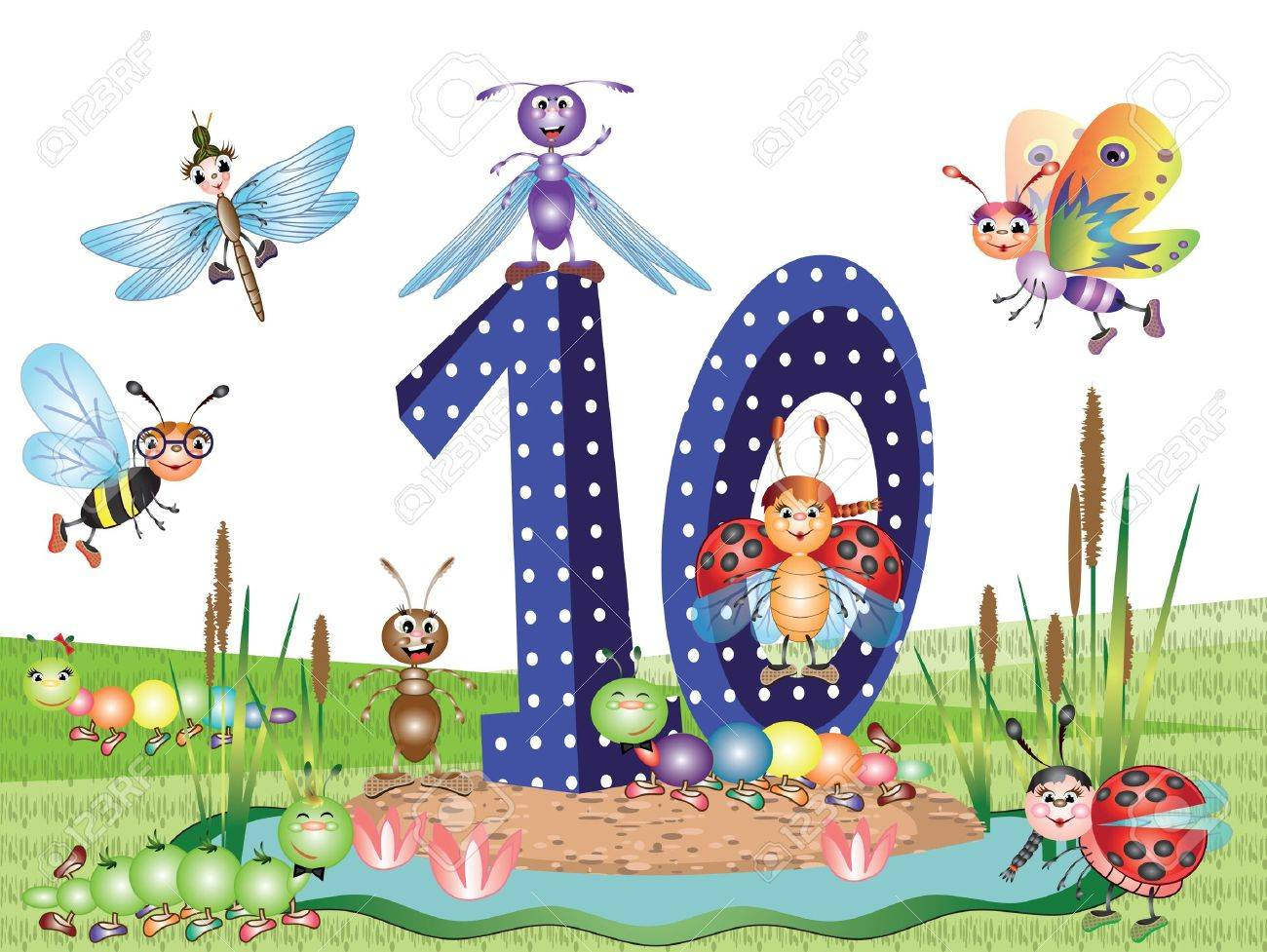 Numbers and insects series for kids,,10 Stock Vector - 9944165