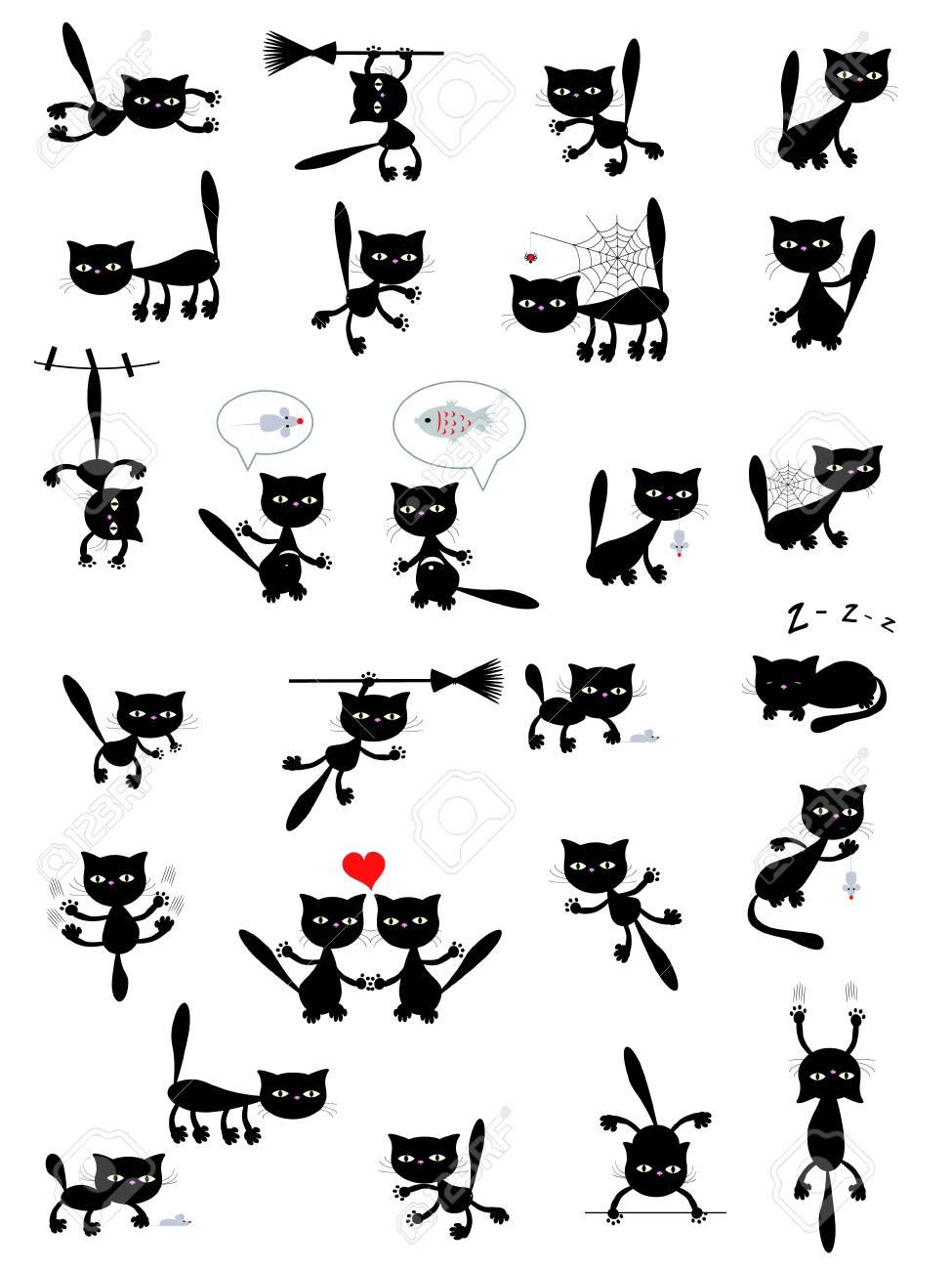 Big set of the black cats. Stock Vector - 10115613